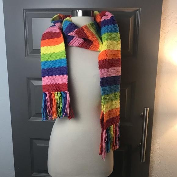 Vintage Accessories - Gorgeous Handmade Crochet Rainbow Scarf